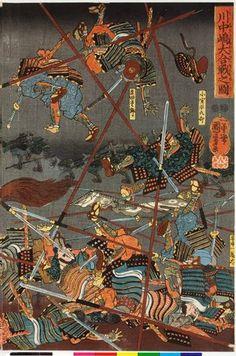 歌川国芳: Kawanakajima o-kassen no zu 川中島大合戦之圖 (The Battle of Kawanakajima) - 大英博物館