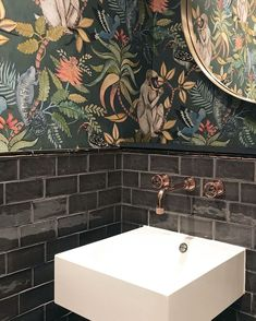 Botanical Wallpapers I love this combination! Classic botanical wallpaper, handmade tiles & a sleek modern sink. Classic botanical wallpaper, handmade tiles & a sleek modern sink.