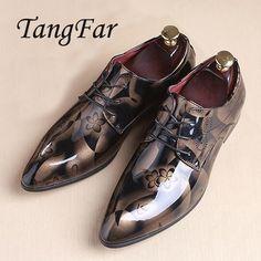 Men Shoes Patent Leather Pointed Toe Oxfords Shoes Men Designer Shoes Casual Breathable Big Size 48 47 46 45 Mens Dress Shoes #Affiliate