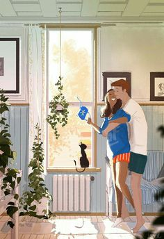 A touch of Sunday. Illustration by Pascal Campion Image Couple, Art Couple, Paar Illustration, Couple Illustration, Pascal Campion, Beaux Couples, Cute Couples, Inspiration Artistique, Couple Drawings