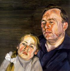 A Man and his Daughter, oil on canvas, 61 x Lucian Freud private collection British Artist, Kids Portraits, Painter, Fine Art Painting, Portraiture, Artist, Lucian Freud, Painting, Lucian Freud Portraits