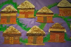 African Grass Huts/ exploring and learning about communities African Art For Kids, African Hut, African Art Projects, African Theme, African Crafts, African Safari, Handas Surprise, Children In Africa, World Crafts