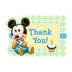 8 Baby Mickey Mouse Childrens 1st Birthday Party Thank You cards Plus Envelopes #Disney #ThankYou https://twitter.com/BandPUSA