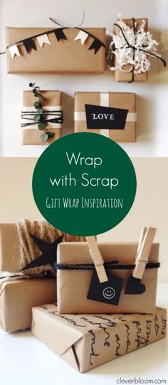 Wrap with Scrap-Gift Wrap Inspiration using scraps you probably have laying around the house. Don't just buy a gift bag, get creative!