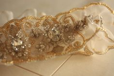 Unique heirloom Bridal Garter in gold tone  Product by MillieICARO, $59.00