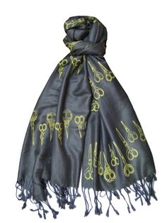 gray yellow scissor scarf. fantastic by nola