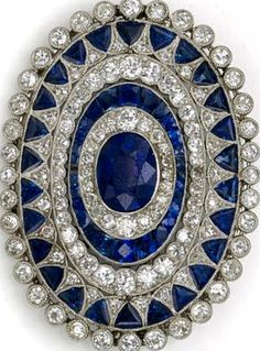 Art Deco Diamond and Sapphire Brooch
