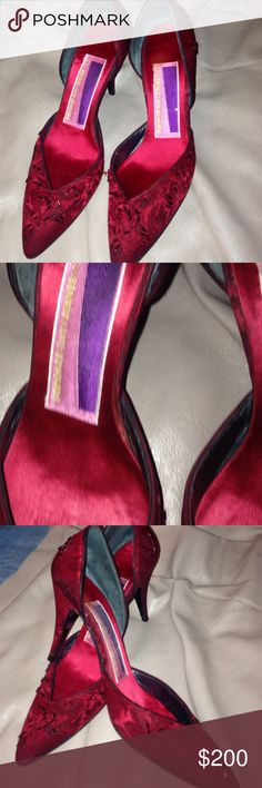 Beautiful pump Satin floral pump with red beading. 3.5' heel. Very expensive quality pump. Great for formal wear or an evening out susan bennis warren edwards Shoes Heels