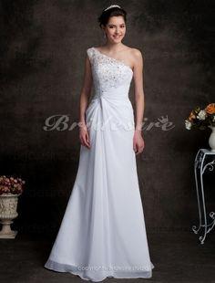 Sheath/Column One Shoulder chiffon Sweep/ Brush Train Wedding Dress ...