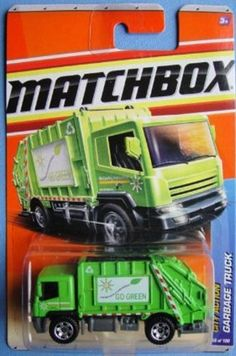 """Matchbox 2011 City Action 66 of 100 Garbage Truck (Go Green) by Mattel. $16.99. Matchbox 2011 City Action 66 of 100 Garbage Truck (Go Green) 1:64 Scale Collectible Die Cast Car. Green colored with white sign on body """"Live better in a clean world: Go Green"""""""