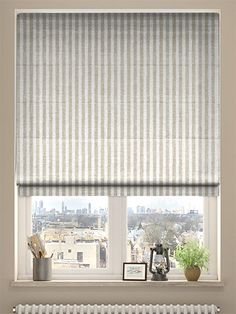 Kitchen window blinds bathroom coverings and diy grasscloth grande stripe linen roman blind from blinds 2go solutioingenieria Images
