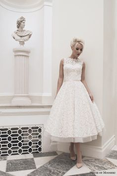 house of mooshki bridal autumn 2014 dara sleeveless blush calf length wedding dress weddingbrand.com