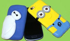 Jumpingclay phone case. Funda para el móvil con masa elástica. Baymax and Minion