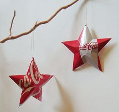 Coke Stars Christmas Ornaments  Soda Can Upcycled by LizardSkins, $12.00  Maybe a Christmas gift for my mom?