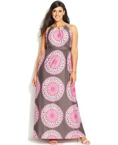 INC International Concepts Plus Size Printed Keyhole Maxi Dress