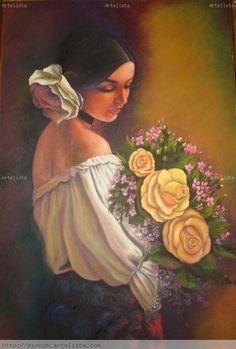 mujeres con flores al oleo - Buscar con Google