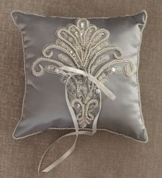 Ring Bearer Pillow Weddings Silver Ring Pillow by antiquebridal, $60.00