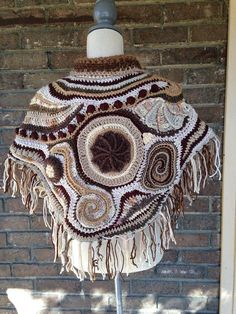 Gorgeous free-form crochet poncho by Of Mars. natural fibers, including wool and alpaca, in beautiful cream and brown tones. Freeform Crochet, Crochet Poncho, Wool, Spirals, Scallops, Fashion Styles, Accessories, Cape Clothing, Crochet Pattern