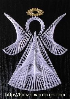 Latest Trend in Paper Embroidery - Craft & Patterns Nail String Art, String Crafts, Arte Linear, Stitching On Paper, Angel Crafts, Xmas Crafts, Embroidery Cards, String Art Patterns, Sewing Cards