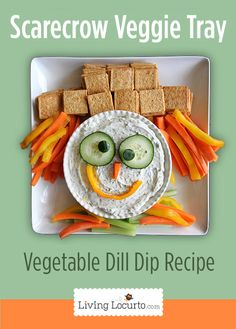 Perfect for the kid table at Thanksgiving >> Scarecrow Vegetable Tray and Dill Dip Recipe at LivingLocurto.com