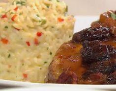 Carré de cerdo agridulce con timbal de arroz