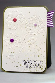 Maybe I can cut out coloured papers for the petals to replace the embellishment! Then, for the middle par, use buttons~ Card Making Inspiration, Making Ideas, Best Wishes Card, Cute Cards, Cards Diy, Miss You Cards, Cardmaking And Papercraft, Embossed Cards, Beautiful Handmade Cards