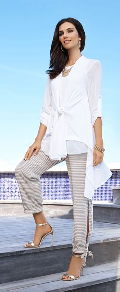 Black Label by Chico's Tie Front Drape Cardigan and Horizontal Striped Pant. Great Whites (and amazing stripes): Proof that comfy can be seriously chic.