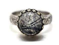 Tourmalinated Quartz Ring Renaissance Ring Custom by fifthheaven