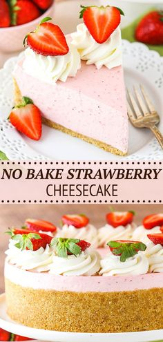 This easy No Bake Strawberry Cheesecake recipe is full of strawberry flavor! Made with gelatin and cooked strawberries, it has a thick and creamy texture that makes it a totally irresistible cheesecake. The perfect strawberry dessert for spring and summer!