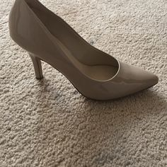 Nine West Nude Heels Pointed toe. Patent leather. Worn 3-4 times. Great condition Nine West Shoes Heels