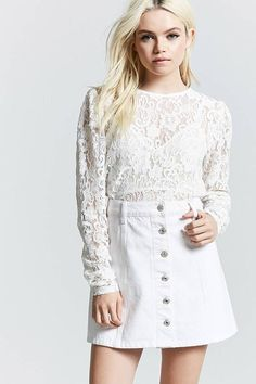 FOREVER 21 Crochet Lace Top  teen teenage fashion style vacation beach college summer + spring womens outfits casual romper first day school fall + winter     Disclosure: Please note the link is an affiliate link which means-at zero cost to you-I might earn a commission if you buy something through my links.