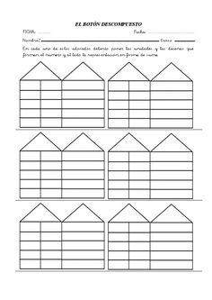 Casitas de descomposición Kindergarten Math, Preschool, Hundreds Chart, Free Math, Math Activities, Mathematics, Curriculum, Worksheets, Bar Chart