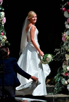 Ali Astall wore an allover satin gown when she married Dec earlier this month!