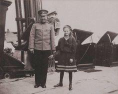 Grand Duchess Tatiana Nikolaevna Romanova of Russia on board the Imperial Royal yacht,The Standart with an officer.
