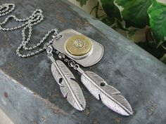Bullet Jewelry - Men's Stainless Steel Dog Tag, Federal 12 Gauge and Double Feather Charm Necklace - Military Inspired, Edgy, Stylish
