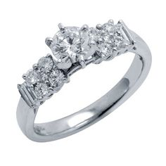 This stylish design will make great for any occasion! Handcrafted in lustrous platinum, this diamond engagement ring features a lovely design with 2 baguette cut diamonds embracing the round cut diamonds. The center stone is a 0.54ct round cut diamond. The color of the diamonds are G/H and the clarity is SI2/SI3.Different ring sizes may be available. Please inquire for details. $2,766.00
