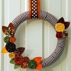 Autumn Wreath on Brown Gingham