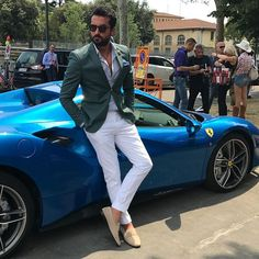 Green jacket and white trousers & blue  mens fashion style - Combination @faruksagin_gardrobe @faruk_sagin