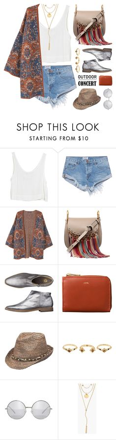 """""""60-second style: outdoor concerts"""" by jesuisunlapin ❤ liked on Polyvore featuring MINKPINK, OneTeaspoon, MANGO, Chloé, Peter Grimm, House of Harlow 1960 and Madewell"""