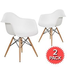 Set of 2 - DAW Dining Armchair Wooden Legs - Eames Reproduction - White - Matte 34% OFF   £79.00 - Milan Direct