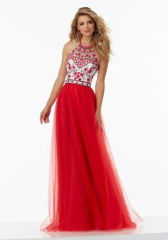 Boho Prom Dress Featuring Floral Embroidered Bodice with High Scoop Neckline. Soft Tulle Skirt. Open Back with Sweep Train. Colors Available: Coral, Scarlet, Navy