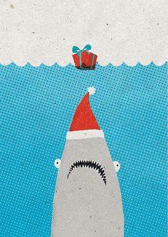 Jaws - Shark Christmas card by Luka Va. www.surfingsloth.com.au Shark illustration.