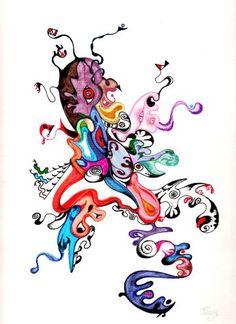 """Neighbor"" original mix-media illustration from artist Marina Sciascia (USA)"