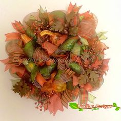 This beautiful deco mesh would be a great way to welcome fall on a door or wall! This wreath is approximately 23 inches in diameter and 7 Fall Deco Mesh, Deco Mesh Wreaths, Wooden Pumpkins, Welcome Fall, Autumn Theme, All The Colors, Burlap, Handmade Gifts, Floral
