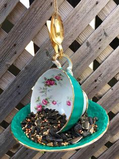 Garden Bird Feeders, How To Attract Birds, Perfect Gift For Her, Silver Spoons, Garden Ornaments, Upcycled Vintage, Vintage China, Teacup, Garden Art