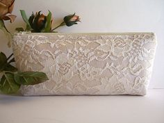 Satin And Lace Clutch - Bridesmaid Makeup Bag - Wedding Clutch - Champagne Clutch - Bridesmaid Clutch - Bridal Clutch - Bridesmaid Gift by SewSouthwest on Etsy