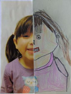 Face Drawing Half Self Portrait 1 - This is one of my favourite ever art projects! I wanted to teach my older group (aged 4 to 6 years) about the proportions of the human face, by looking closely at their own faces instead of just dr… Kindergarten Art, Preschool Art, Portraits For Kids, Self Portrait Kids, Portrait Art, Art For Kids, Crafts For Kids, Ecole Art, Art Classroom