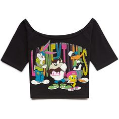 Forever 21 Street-Chic Looney Tunes Top (13 AUD) ❤ liked on Polyvore featuring tops, crop top, forever 21 tops, short sleeve crop top, colorful tops, multi color tops and graphic crop tops
