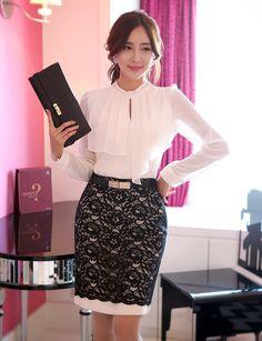 Korean Office Lady Style Free Worldwide Shipping http://en.thejamy.com/goods.php?id=178621