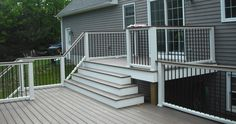 Two level deck with one step down to the yard and patio. Description from pinter Two level deck with Two Level Deck, Basement Entrance, Porch Entrance, Tiered Deck, New Deck, Pool Decks, Backyard Decks, Deck Plans, Decks And Porches
